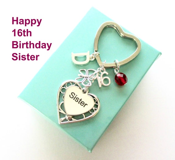 16th Birthday Gift For Sister Personalised Sister Keyring