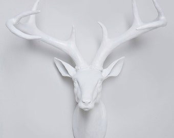 White faux deer head wall mount - White stag head with antlers Australia - Faux Deer Head, Wall Mounted Deer Head