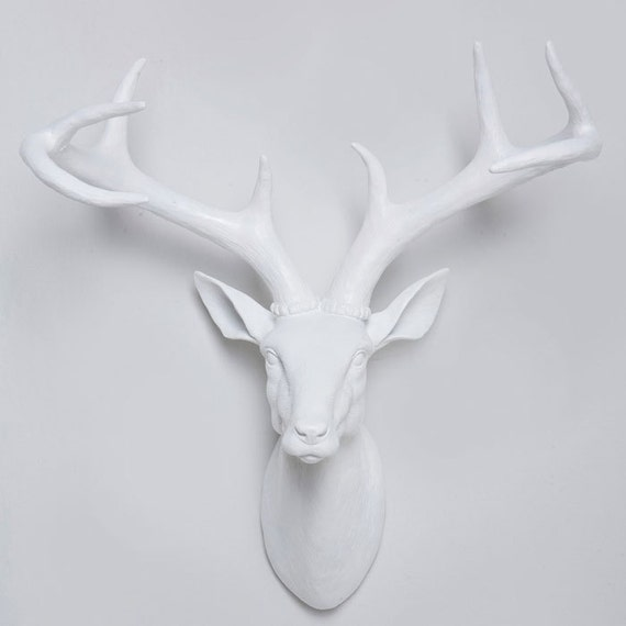 Marvelous White Faux Deer Head Wall Mount White Stag Head With Antlers