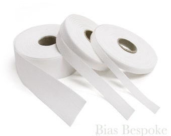 20 Meter Roll of 100% Italian Cotton Twill Tape, White, Available in Three Widths