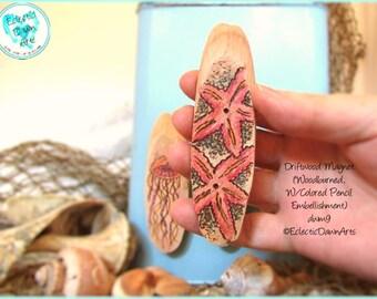 Red Starfish Magnet, Driftwood Pyrography Magnet, #DWM9