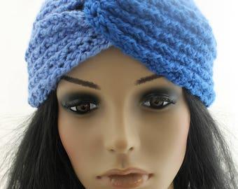 Crocheted Blue Turban Headband. Messy Bun Hat. Ear Warmer. Teens. Women. Adult.