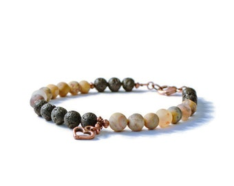 Aromatherapy Diffuser Charm Bracelet, Lava Stones & Frosted Agate, Antique Copper Heart Charm, Essential Oil Jewelry