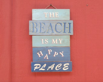 Hand painted and Handmade from Reclaimed Wood Beach Sign