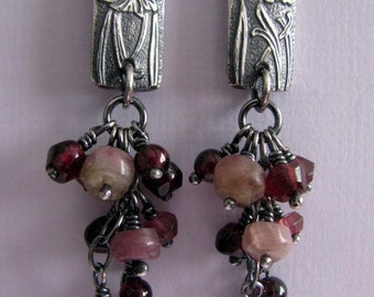 Tourmaline Garnet Dangle Earrings, Long Sterling Silver Earrings, Flower Embossed Silver Earrings