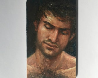 "Daniel - a small original oil painting 3""x5"" sold framed and ready to hang"