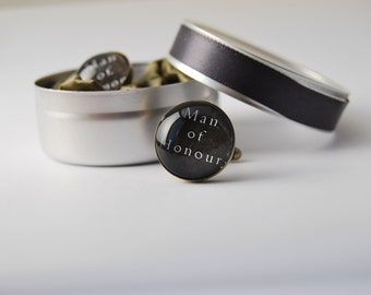 Mens Wedding Cufflinks in Gift Tin, Personalised Gift for Bridal Party, Groom, Best Man, Groomsman, Father Of The Bride, Made In Australia,