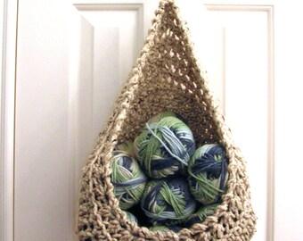 Hanging Crochet Basket - Modern Wall or Door Storage Basket - Nursery Decor - Minimalist Decor - Doorknob Basket
