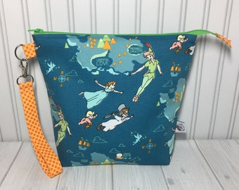 Medium Zipper with Handle Top Knitting Crochet Project Bag - Peter Pan