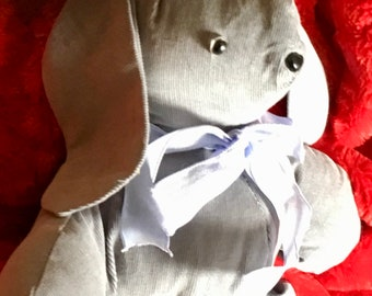 Hand Sewn Grey Corduroy Bunny