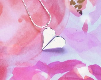 Heart Necklace - Cute Origami Heart Pendant - Valentine's Day Origami Jewelry