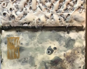 Original Abstract Encaustic Painting: colored mixed media style beeswax resin heavily textured decor artwork