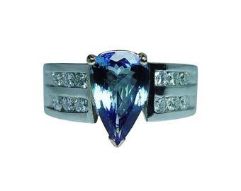 Vintage 14K White Gold Tanzanite Diamond Ring Heavy Estate