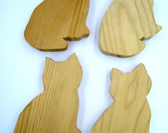 Wooden Cat Forms, chunky, Cat Silhouette, set of 4, ready to finish