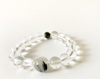 Tourmalinated Quartz & Magnetic Hematite Bracelet (1)