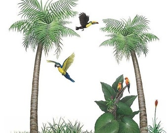 Palm Tree Tropical Bird Murals Collection Wall Decal Stickers (8 feet wide x 8 feet tall)