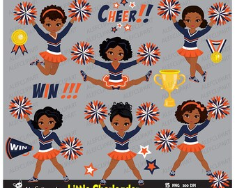 Navy, Orange and White Cheerleader Digital Clipart Set/ part 2 / African American for -Personal and Commercial Use