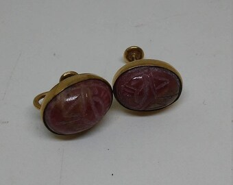 Spring Sale Vintage Costume Jewelry Gold Filled Scarab Screw On Earrings