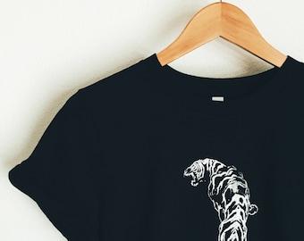 Hand printed tiger tee (black)