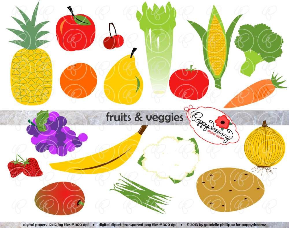 fruits veggies clip art pack 300 dpi transparent png rh etsy com fruit and vegetable clip art borders fruit and vegetable clip art free