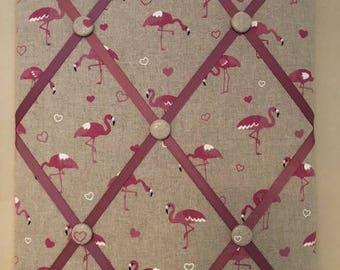 Fabric Memo Board - Pink Flamingo