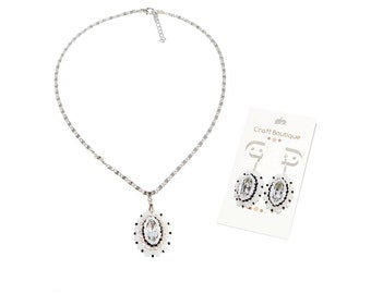 Free shipping USA & Canada. Bead Embroidered Jewelry Set with Rhinestones. White Black Earrings Pendant. Wedding Bridal Bridesmaid Jewelry