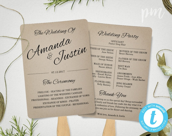 wedding program fans rustic wedding program fan template fan wedding program 30759