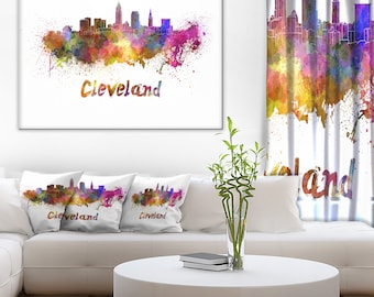 Cleveland Skyline - Cityscape Canvas and Metal Artwork Print - (PT6597)