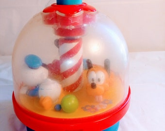 Vintage Disney Press and Spin Mickey Mouse , Donald Duck, Pluto Babies