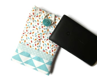 """Cover/case for mobile phone or Pocket lined and padded glasses """"chart"""" blue"""