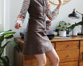 Brown Leather Vintage 60s Zip-up Tank Dress