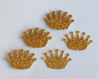 Princess Crown Confetti Gold Glitter 50 Pieces, Princess Birthday Party, Baby Girl Shower, Bridal Shower, Princess Wedding, Table Decor