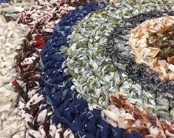 Rag Rug - Crocheted Fabric Rug - Browns/Blues/Greens - Braided Rug - Braided Rag Rug - FREE SHIPPING!