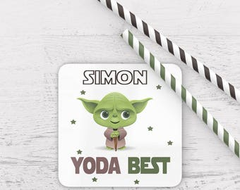 Personalised yoda best coaster, personalized yoda coaster, valentines,gift, stars wars coaster, yoda best star wars, personalized coaster