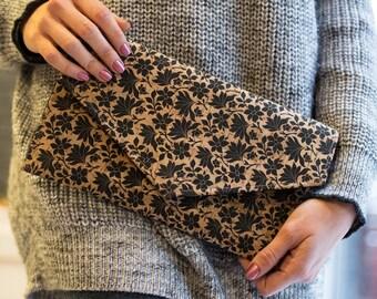Cork Clutch-Floral Clutch-Eco Friendly Purse-Vegan Bag-Handmade Bag-Gift for Her-Vegan Gift-Cork Bag-Cork Purse-Unique Bag-Envelope Bag
