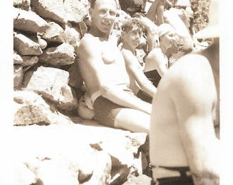 """Vintage Snapshot """"July 4th 1935"""" Shirtless Men Sitting In The Sun Old Photo Swimmers Swimming Beach Found Vernacular Photography"""