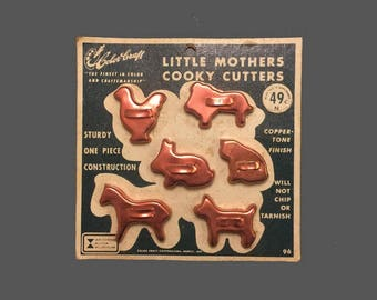 Vintage 1950s Children's Tiny Miniature Little Mothers Cookie Cutters by Color Craft