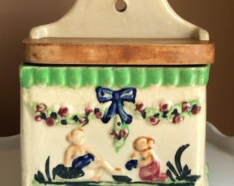 Vintage Stoneware Salt Box/ Vintage Japan