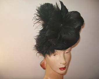 1930's-40's Black Tippy Hat, New York Creation Label!