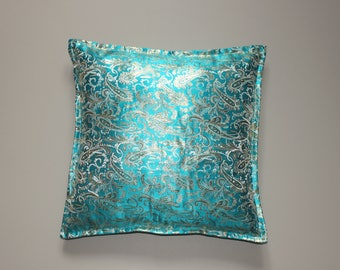 Turquoise paisley brocade pillow cover with gold buttons 18x18 inch 45x45 cm