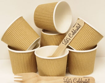 Kraft Cups, 20 4 oz Brown Kraft Paper Cups & DIY Label,Party Food Cup,Candy Nut Cup, Cowboy / Cowgirl Party, Ice Cream Cup,Parties, Weddings