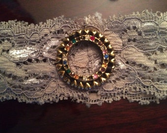 Recycled VINTAGE Linen Smokey Green Lace Headband with Gold Hearts and Rhinestone Brooch