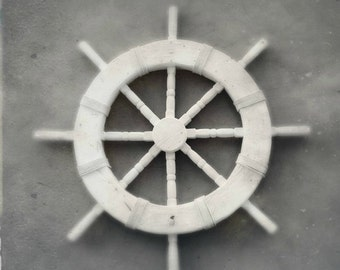 Captain's Wheel Black and White Nautical Photography | Ship Wheel Decor Instant Digital Download | Printable Beach Art | Minimalist Maritime