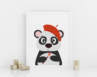 Panda nursery print, Printable Nursery Animal Wall Art, Nursery Decor, Artistic Panda with a brush, Digital download