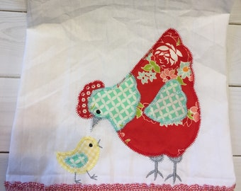 Free shipping-Ready to Ship- Handmade Tea Towel- chicken appliqué- flour sack- hand towel-kitchen decor