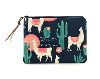 Llama Pouch - Llama Makeup Bag - Cactus Llama Purse - Llama Gifts for Women - Cute Llama Gifts - Small Cosmetic Pouch - Llama Lovers Gift