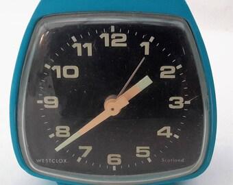 Alarm clock, Westclox small blue wind up manual Wesclox Scotland, blue alarm clock.