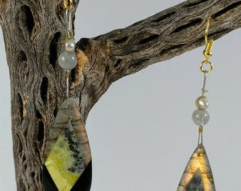 Labradorite Obsidian and Serpentine Earrings