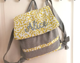 CUSTOMIZABLE print and light gray chambray backpack yellow leaves