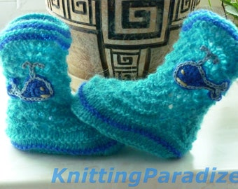 Cowboy boots with whale, warm baby boy booties, unusual baby booties, original baby boy boots, blue baby boy boots